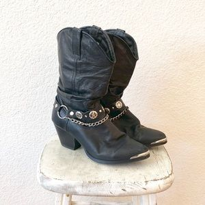 Vintage Biker Festival Cowgirl Leather Boot Chains